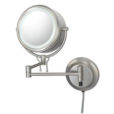 Kimball Kimball 91475 Double Sided Contemporary Wall Mirror  Plug In - Brushed Nickel