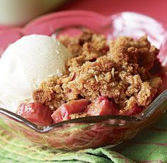 Rhubarb Brown Sugar Crumble: A generous amount of oatmeal streusel tops this crumble, providing a crunchy contrast to the tart, juicy filling. Vanilla ice cream is a natural with this homey favorite. Via FineCooking.