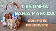 Artesanato / Enfeites de Páscoa - DIY - Cestinha de Páscoa com Pote de S...