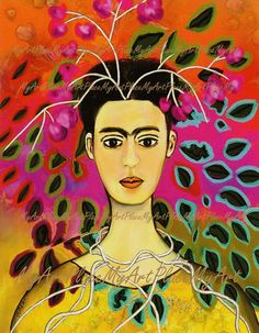 "Frida Kahlo Art, Postcards, Art Prints, ""Primavera,"" Fantasy, Surreal, Portraits, Mexico, Latin. $2.00, via Etsy."