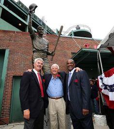 "Boston, MA - 09/22/13 - Hall of Famer left fielder Carl Yastrzemski with former teammates and Red Sox greats Dwight ""Dewey"" Evans and Hall o..."