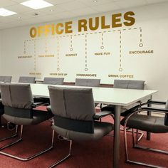 Office Rules Office Wall Art Wall Decal Wall Sticker Office Values Motivational Inspiring Office Decor Office Walls Wall Decor Corporate Office Design, Office Wall Design, Office Branding, Modern Office Design, Office Interior Design, Office Interiors, Home Interior, Contemporary Office, Office Art