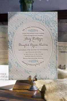 Vintage-Inspired Country Lace Wedding Invitations by Lucky Luxe Couture Correspondence via Oh So Beautiful Paper (7)