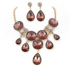 Gold Cuff Link Chain with Padparadscha Stones Necklace Dangle Earrings Jewelry Set