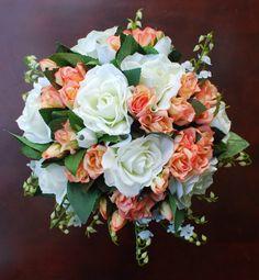 Peach / Coral  Wedding / Bridal Bouquet by silvasalazar on Etsy