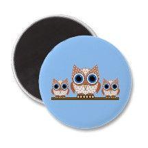 owls refrigerator magnet