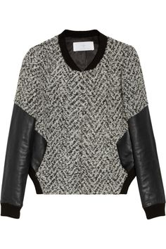 Thakoon Addition Leather-sleeved tweed bomber jacket NET-A-PORTER.COM