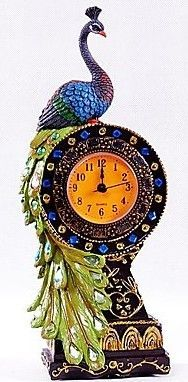Peacock Table Clock, Southern Asia, polyresin…
