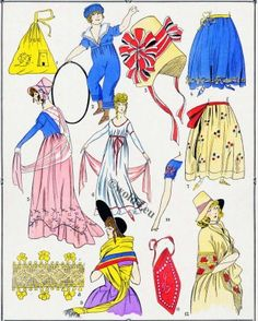French revolution fabric fashion 1792-1799. Les Modes sous la revolution.
