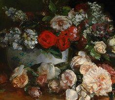 Eugene Henri Cauchois Still Life with Roses 19th century Via: StilllifeQuickheart