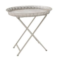 METAL TRAY TABLE IN SILVER COLOR 56X41X54 - Coffee Tables - FURNITURE