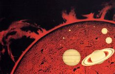 Space art from Chesley Bonestell - this explosive depiction of Sun and Planets gives a striking impression of not just the Star's giant mass but also it's immense solar energy Arte Sci Fi, Sci Fi Art, Vintage Space, Solar Panels For Home, Futuristic Art, Pulp Magazine, Science Fiction Art, Retro Futurism, Sci Fi Fantasy