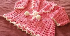 Crochet cardigan for girl with PAP Crochet Baby Sweaters, Baby Girl Sweaters, Crochet Baby Clothes, Crochet Cardigan, Knit Crochet, Crochet Girls Dress Pattern, Vestidos Bebe Crochet, Kids Dress Clothes, Crochet For Kids