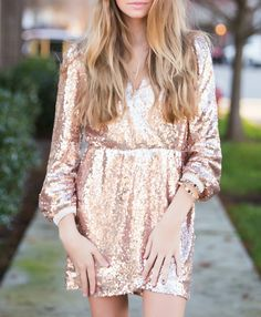 Rose gold sequin dress #swoonboutique
