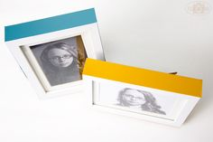 Add colored, sticky craft vinyl along side the edges of picture frames for a pop of color. Awesome! #DIY