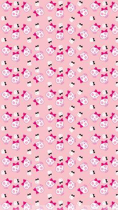 Pink, girly skulls and bows wallpaper