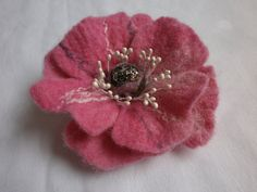 Wool  Flower  Felted Flower Brooch    Wool by FahionFeltProducts