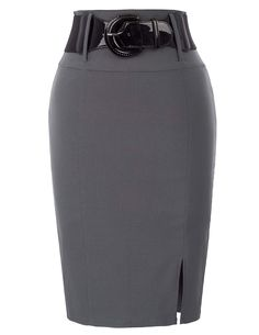 5c6f9a563d5b Belle Poque Elastic Skirts for Women Knee Length Skirts Gray Size S BP762-2  Pencil
