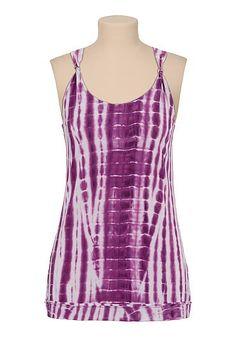 lattice back tie dye tunic tank - maurices.com