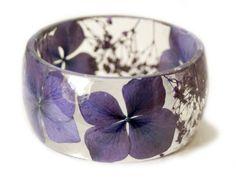 Real Flower Jewelry- Purple Bangle- Purple Flower Jewelry- Resin Jewelry- Flower Bangle- Purple Resin Bracelet