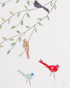 collage art, birds
