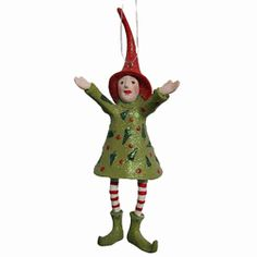 Patience Brewster Krinkles Joyful Elf Red Hat Ornament