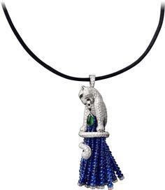 CARTIER tassel Pendant - platinum, sapphire beads, emeralds, diamonds, onyx