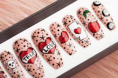 Vegas Baby Press on Nails Pop Art Nails, Cool Nail Art, Love Nails, How To Do Nails, Crystal Nails, Clear Nails, Best Press On Nails, Las Vegas Nails, Piercing