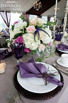 Classic hydrangea centerpiece with hints of purple and pink