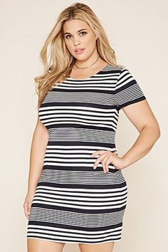 Plus Size Stripe Bodycon Dress