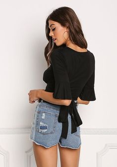 Shop Trendy Women's and Junior Clothing Love Culture, Knit Tie, Junior Outfits, Tie Backs, Bodice, Bell Sleeves, Crop Tops, Denim, Chic