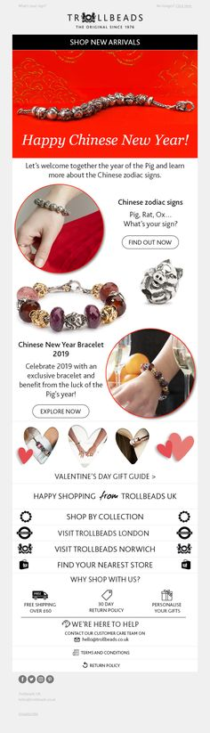 Chinese New Year email from Trollbeads Chinese Zodiac Signs, Year Of The Pig, Happy Chinese New Year, Lunar New, Email Marketing, Fashion Jewelry, Jewellery, Jewels, Trendy Fashion Jewelry