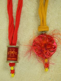 Set of TWO ISU Iowa State University College Sports Cardinal and Gold Necklaces with Maroon Pop Tabs Thread Spool T Shirt Beads Fun Fur Yarn by AlisasArtEveryday on Etsy