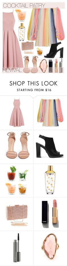 """Cocktail party #cocktailparty #fashion #retrofashion"" by cutandpaste ❤ liked on Polyvore featuring Chi Chi, Chloé, Stuart Weitzman, Michael Kors, Dot & Bo, Kate Spade, Chanel, MAC Cosmetics and Mark Broumand"