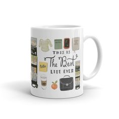 Who doesnt have coffee before service? This mug features some essentials for a day in the ministry, including items for both brothers and sisters. Its a perfect gift for yourself, a coffee or tea loving pioneer, or just about anyone who is in service to Jehovah. Heres some extra details:  • 11-ounces  • Microwave and Dishwasher Safe  • Might possibly make your morning a little happier  Here are links to the coordinating greeting cards:  Sisters Edition: http://etsy.me/1Uqx42s  Brothers…