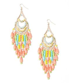 Loving this Gold & Coral Swing Drop Earrings on #zulily! #zulilyfinds
