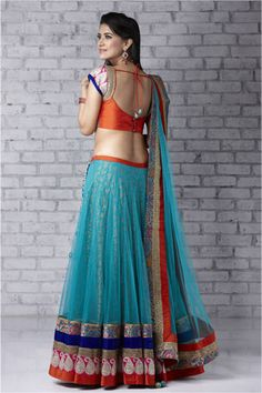 Blue and orange lehenga. #IndianFashion