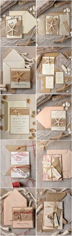 Rustic country kraft paper beach wedding invitations #rusticwedding…