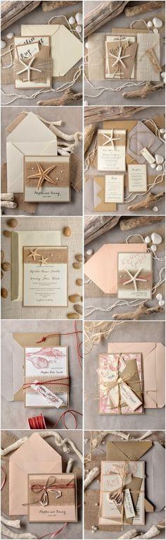 Rustic country kraft paper beach wedding invitations #rusticwedding…