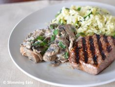 Fillet Steak with Creamy Garlic Mushrooms and Courgette Wild Rice Pilaf - Brilliant website for free Slimming World Recipies!!