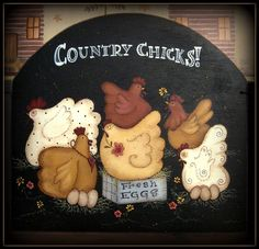 E PATTERN - New - Kichen Chickens - Designed by Terrye French, Painted by Me. $5.00, via Etsy.