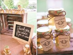 chalkboard thank you sign and honey wedding favors