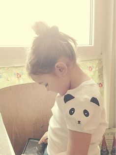 Panda Sleeve Tee: would be so cute to add to kid's clothing to brighten up old T's.