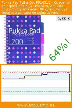 Pukka Pad Polka Dot PP16312 - Cuaderno de espiral doble (3 unidades, A5, 200 hojas microperforadas, 80 g/m², incluye separadores, tapa de polipropileno), diseño de lunares, multicolor (Productos de oficina). Baja 64%! Precio actual 6,80 €, el precio anterior fue de 18,69 €. https://www.adquisitio.es/pukka-pad/polka-dot-pp16312