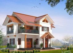 cong ty xay dung nha pho tphcm, xay dung nha o , nha dep, xay dung nha xuong gia re New Home Designs, Cool House Designs, Modern House Design, Modern Bungalow Exterior, African House, Three Bedroom House Plan, Hillside House, Rest House, Kerala Houses