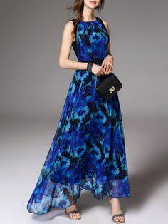 Navy Blue Boho Polyester Floral-print Maxi Dress