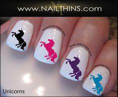 Unicorn Nail Decal Magical Horse Nail Design NAILTHINS on Etsy, $3.52 CAD