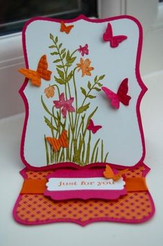 Stampin Up Just Believe, Top Note Die, beautiful wings and decorative label punch by marcie Fancy Fold Cards, Folded Cards, Cute Cards, Diy Cards, Ideias Diy, Shaped Cards, Easel Cards, Butterfly Cards, Card Tutorials