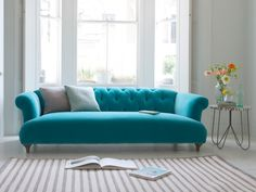 LOAF.com British made Dixie sofa in Bahama plush velvet is a modern and comfy chesterfield sofa