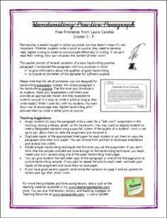 Handwriting practice activity for upper elementary students - includes a practice paragraph in print and cursive as well as lined writing paper